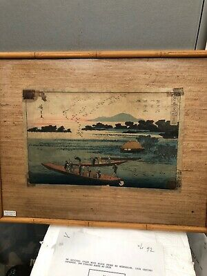 Japanese WOODBLOCK Print - Two Fishing Boats At Dusk -HIROSHIGE 19th Century