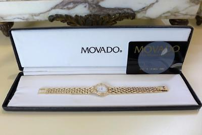 Movado 14Kt Yellow Gold Mop Diamond Dial Diamond Bezel 73 25 9820 Wristwatch