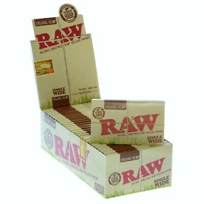 RAW Natural Single Wide Organic Hemp Double Rolling Papers 25 Pack (Full Box)