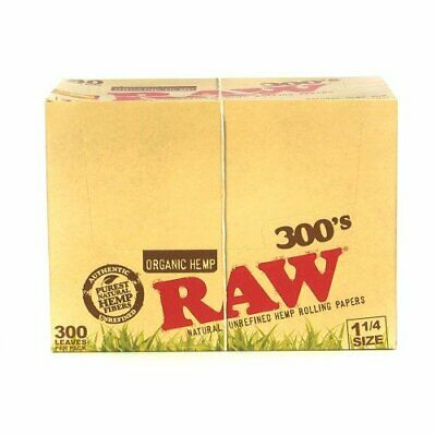 RAW 300's ROLLING PAPERS ORGANIC HEMP 1 1/4 SIZE 300 LEAVES PACK OF 40