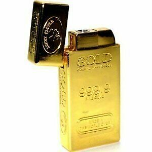 Gold Bar Single Flame Refillable Butane Torch Lighter 2 1/2 Inch