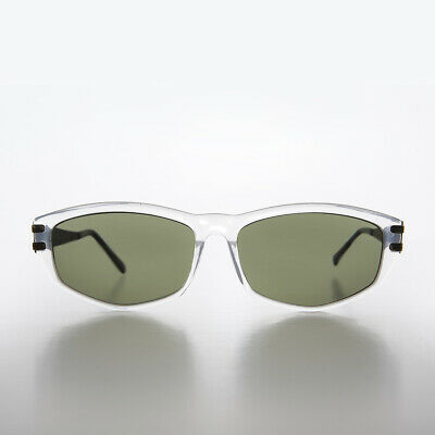 Clear Rectangular Sunglass with Art Deco Etched Metal Temples - Arizona