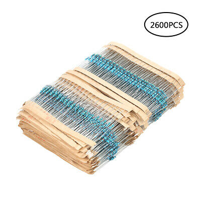 2600 Pcs 130 Values 1/4W 0.25W 1% Metal Film Resistors Assorted Pack Kit B2C8