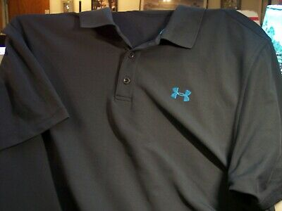 Under Armour Xl Gray Loose Heat Gear Mens Polo Shirt Fl Logo Shirts Clothing, Shoes & Accessories