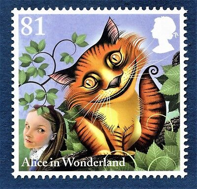 Alice in Wonderland - The Cheshire Cat Illustrated on a stamp Unmounted Mint
