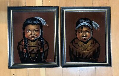 Vintage Black Velvet Native Indian Child Painting Boy/Girl Pair Signed McGuire