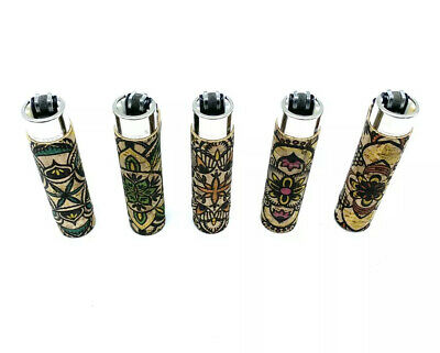 5x Clipper Refillable Lighters With Leaf Rubber Cover Collection