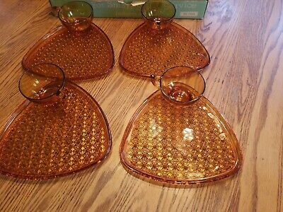 Indiana Colony Glass 4 Amber Daisy & Button Snack Luncheon Plate & Cup Sets