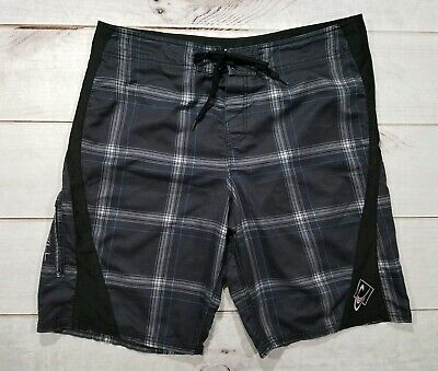 c1f2240fbc O'NEILL Board Shorts Men's 36 Plaid Black/Blue Surf Trunks Swimwear
