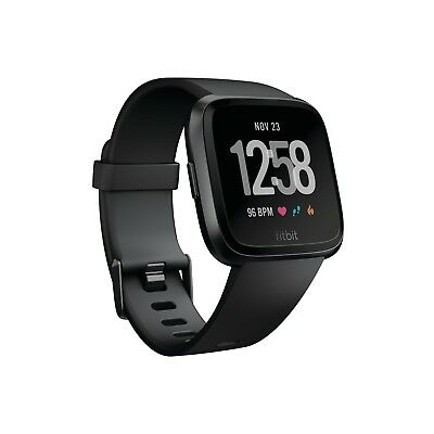 Fitbit FB504GMBK Versa Smartwatch with Heart Rate Monitor Large Black