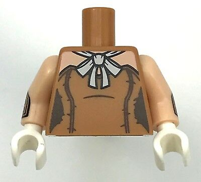 Lego New Pearl Gold Torso Open Coat with Collar Orange with Light Flesh Hands