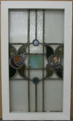 "MID SIZED OLD ENGLISH LEADED STAINED GLASS WINDOW Stunning Floral 16.75"" x 28.5"""