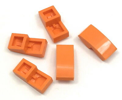 Lego 5 New Green Slope Sloped Curved 4 x 1 Double No Studs City Pieces Parts