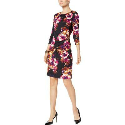 8c5e4d81f27 B-Slim Womens Black Floral Print Above Knee Wear to Work Dress M BHFO 9855