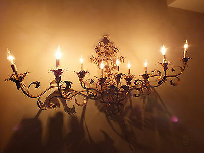 "Vtg 54"" Hollywood Regency Italy Gold / Gilt Tole Metal 9 Light Wall Sconce"