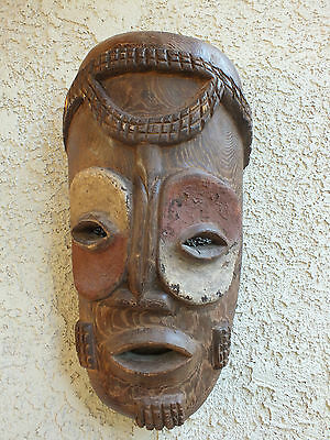 "Vtg Lg 21"" African Hand Carved Wooden AfricaTribal Mask w/ Red & White Pigment"