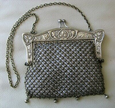 Antique Art Nouveau G Silver Floral Leaf Frame Fancy Chain Mail Tile Purse