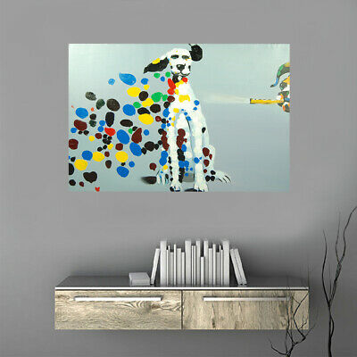Hand Painted Canvas Art Oil Painting Modern Home Wall Decor Framed Dalmatian