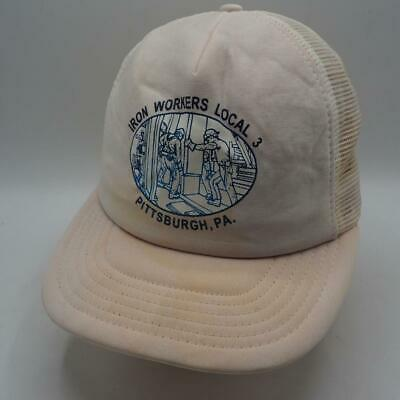 Mesh Strapback Trucker Hat Cap Iron Workers Local Union Pittsburgh PA Vintage