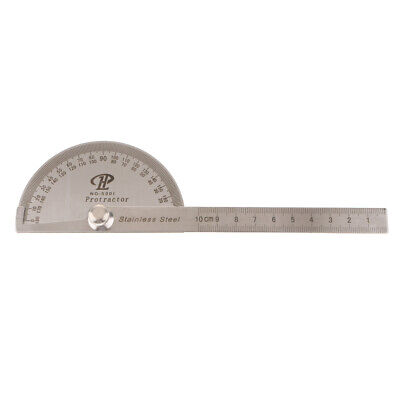 Stainless Steel 180 Degree Protractor Angle Rule Rotary Measuring Ruler