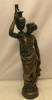 Vintage Bronze ROMAN LADY FIGURINE URN Statue from Japan Circa 1930s #83