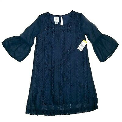 Girls CRB Navy Blue Lace Chiffon Dress-NEW-Sizes 8 10 12 14 /& 16-Bell Sleeves
