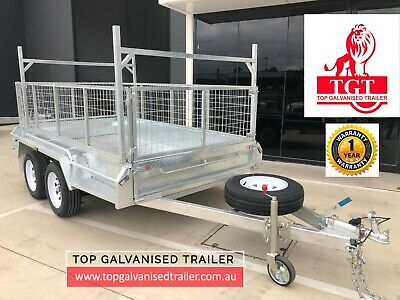10x5 TANDEM TRAILER GALVANISED WITH LADDER RACKES 600MM CAGE HEAVY DUTY 2000KG