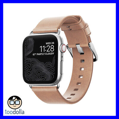 NOMAD Horween Genuine Leather Slim Watch Strap band, Apple Watch 40mm, Natural