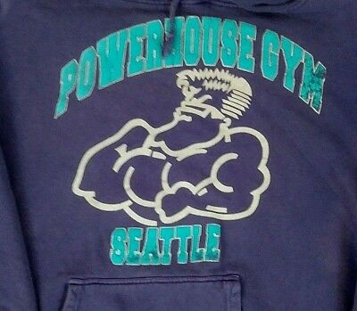 Vintage 1980s Purple Aqua POWERHOUSE GYM SEATTLE Hoodie SWEATSHIRT Size L