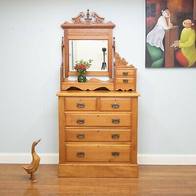 Antique Art Nouveau Carved Chest of Drawers – Tilt Mirror – 7 Drawers