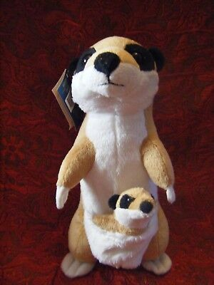 """Chester Zoo Mom & Baby Meerkat Soft Toy 11.5"""" Approx Vgc With Tag"""