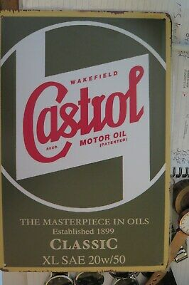 castrol motor oil  brand new.  tin metal sign MAN CAVE brand new