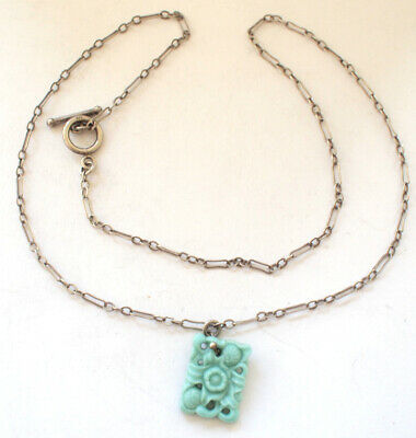 925 Sterling Silver Link Chain Necklace Pendant Green Ceramic Chinese Retro 4g