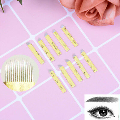 20X Microblading Eyebrow Tattoo Permanent Makeup  Blade 14 U Shape Needles   pD