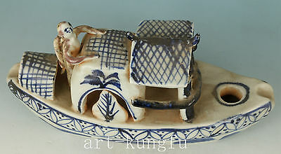 Rare Chinese Old Porcelain Collection Hand Carved Boat Statue Figure Home deco