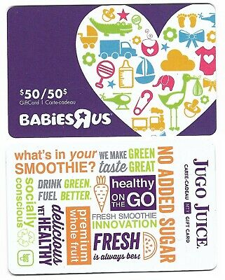 2 collectible JUGO JUICE BABIES R US gift card cards Canada