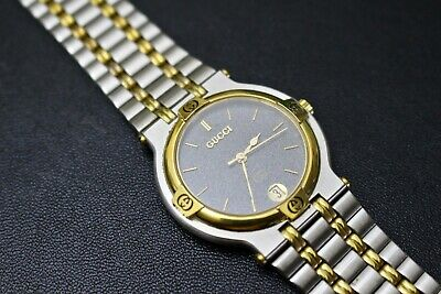 4412671534f Vintage GUCCI 9000m Men s Two Tone Stainless   Gold Plate Quartz Watch