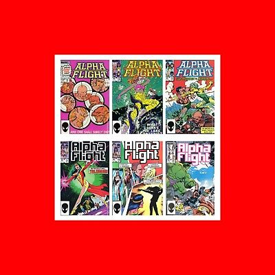 ☆Rare Fn Marvel 6 Comic Book Lot: Alpha Flight(1983)#12 14 15 18 19 29 Bag+Board
