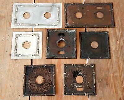 Antique Edwardian 1920s Vintage Light Switch Cover Plates Metal Period House