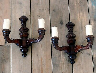 Pair Ornate Double Vintage Wooden Wall Lights Lamps Sconces Shabby Chic #B
