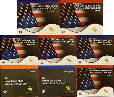 1999-2016 P or D COA United States Mint BU Coin Sets