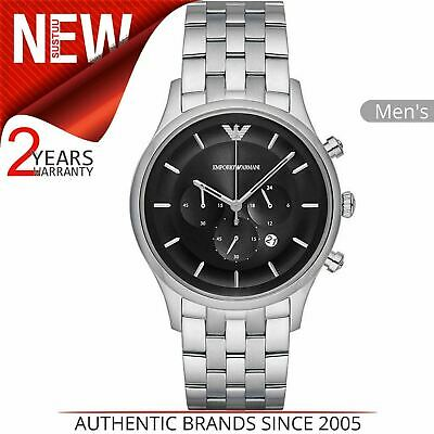Emporio Armani Classic Men's Watch AR11017¦Chronograph Black Dial¦Stainless Band