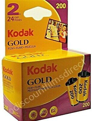 2 x  KODAK GOLD 200 35mm 24exp CHEAP COLOUR CAMERA FILM by 1st CLASS POST