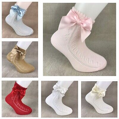 Girls Genuine Spanish Socks Carlomagno Ankle Open Weave Bow Socks Romany Socks