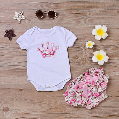 Newborn Infant Baby Girl Crown Romper Jumpsuit+Shorts Pants Outfits Clothes