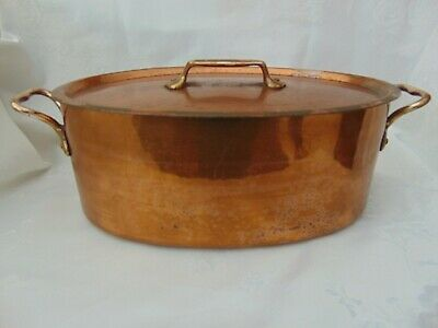 Antique French Dovetailed Copper Oval Casserole Pan Cocotte Tin Lined