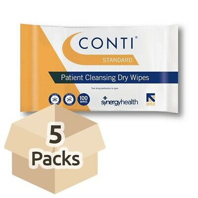 5x Conti Standard Patient Cleansing Dry Wipes - 32cm x 28cm - Wash Aid