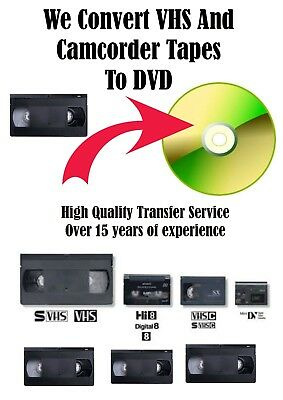 VHS Video, Camcorder Tapes To DVD Transfer Service - All Formats Available