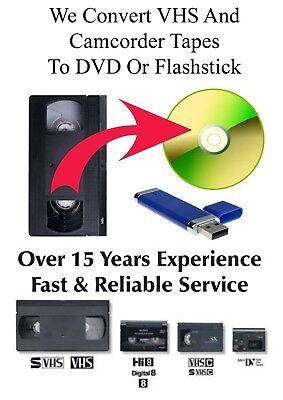 VHS Video, Camcorder Tapes To DVD Or Flashstick Transfer Service - All Formats