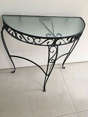 Vintage 1960s wrought iron side table/ telephone table/ garden table